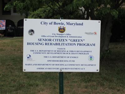 yard sign for the Sr. Citizens Green Housing Rehab Program